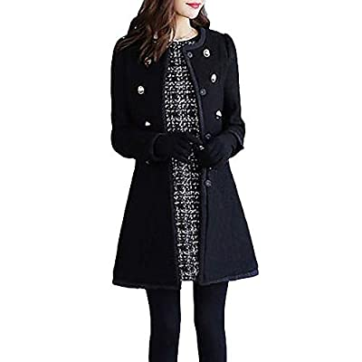 LISTHA Wool Lapel Trench Parka Coat Women Warm Outwear Long Jacket Overcoat Black by