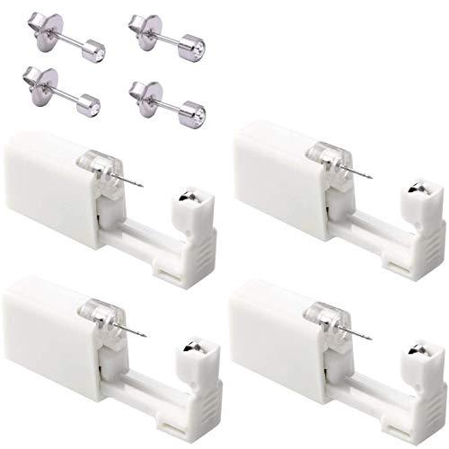 4 Pack Disposable Ear Piercing + 4 Stainless Steel Stud Earrings Asepsis Painless Safety Self Ear Piercing Gun Kit Tool for Girls Women Men
