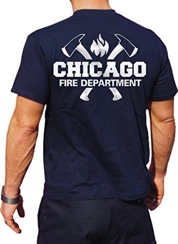 feuer1 Multifonctions T-Shirt Bleu Marine avec Protection UV 30 +, Chicago Fire Dept. avec emblème haches et Standard, Argent Edition L Bleu Marine