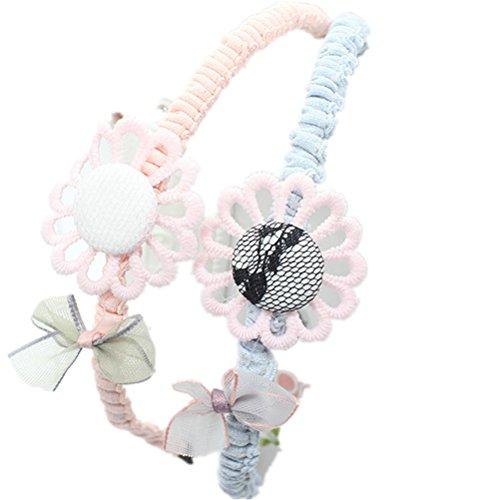 cuhair Lot de 2 grands serre-têtes en dentelle avec tournesol - Accessoires pour cheveux pour enfants et filles