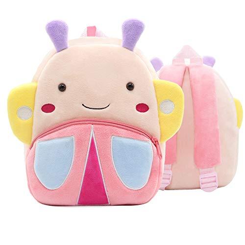 QXbecky Mochila para niños Zoo Series Cute Schoolbag para niños Mochila de hombro ligera Mochila de felpa Kindergarten Early Learning Bag Mini mochila Butterfly 24x10.5x26.5cm