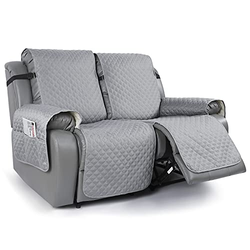 TAOCOCO Loveseat Recliner Cover Non-Slip Sofa Slipcover, Pet Cover for Loveseat Recliner with Elastic Straps, Washable Reclining Loveseat Cover Recliner Furniture Protector (2 Seater, Light Gray)