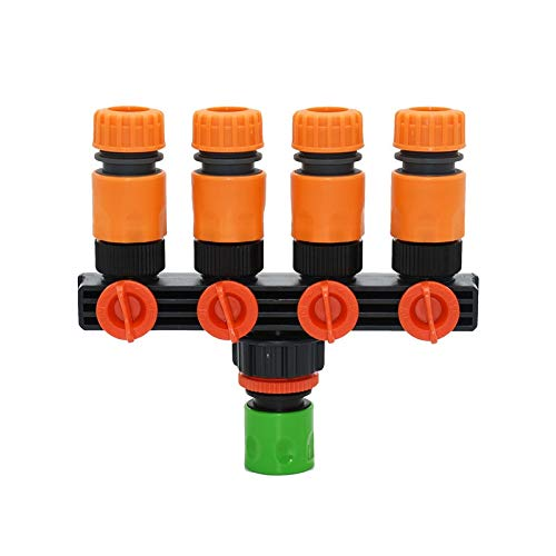 Cajas de riego con tapa, 1 juego de riego 1/2 manguera de 4 vías grifo de jardín conector rápido rosca hembra 3/4 1 pulgada divisor adaptador de 4 vías botella de riego nasal (color: verde)