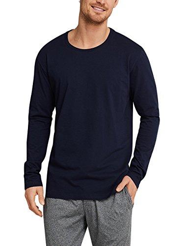 Schiesser Mix & Relax Langarmshirt Rundhals Haut De Pyjama, Bleu (Dunkelblau 803), Small (Taille Fabricant: 048) Homme