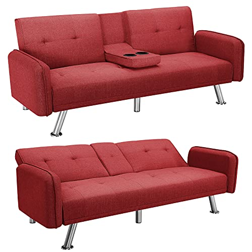 """HWT Modern 74.8""""Futon Loveseat Sofa Bed with Armrest Convertiable Upholstered Foldable Fabric Sleeper Sofa Couch Cup Holders for Small Spaces, Bedroom, Apartment, Office Furniture,Red"""