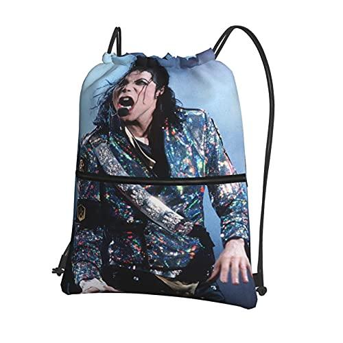 Mochila deportiva con cordón, bolsa de viaje para la escuela o el niño o la niña, bolsa de viaje con cordón impermeable Michael Jackson con cremallera externa