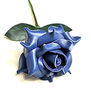 Silk Flower Arrangements Camellia Bees Leather Rose Gift for her/him on Valentines Day, Mothers Day, Third Years Wedding Anniversary (Blue)
