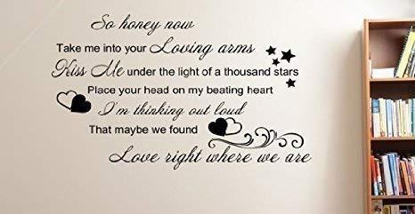 nonbrand Wandtattoo / Wandaufkleber mit Songtext von ED Sheeran Thinking Out Loud, englische Aufschrift, 100 x 60 cm, 16 Farben