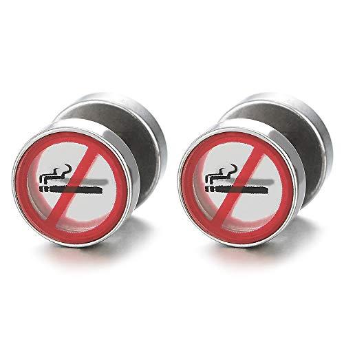 Herren Damen Rauchen Verboten Zeichen Kreis Ohrringe, Edelstahl Ohrstecker, Fake Plugs Ohr Cheater Tunnel Ohr-Piercing