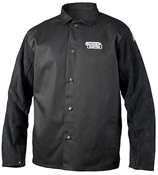 Lincoln Electric Split Leather Sleeved Welding Jacket | Premium Flame Resistant Cotton Body | Black | 3XL | K3106-3XL
