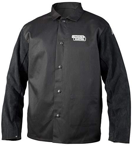 Lincoln Electric Split Leather Sleeved Welding Jacket | Premium Flame Resistant Cotton Body | Black | Large | K3106-L