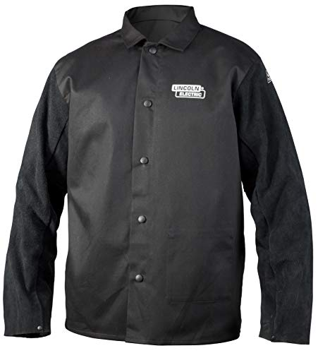 Lincoln Electric Split Leather Sleeved Welding Jacket | Premium Flame Resistant Cotton Body | Black | Large | K3106-L