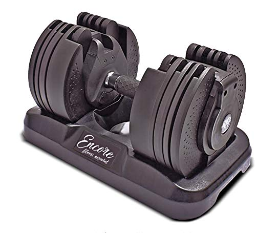 Mancuerna Ajustable 20 kg Encore Fitness | Mango Giratorio | 16 Diferentes Pesos | Regulable | 16 Pesas Individuales (1 Mancuerna)