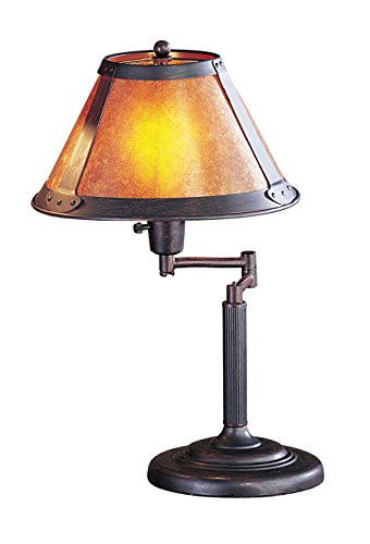 Cal Lighting BO-462 Table Lamp with Mica Glass Shades, Rust Finish