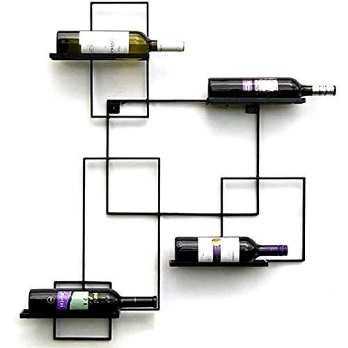 BFDMY Estante De Vino De La Estantería De La Botella De Hierro para 4 Botellas De La Pared del Titular del Vino del Titular Decorativos para La Sala De Estar O La Cocina Negra