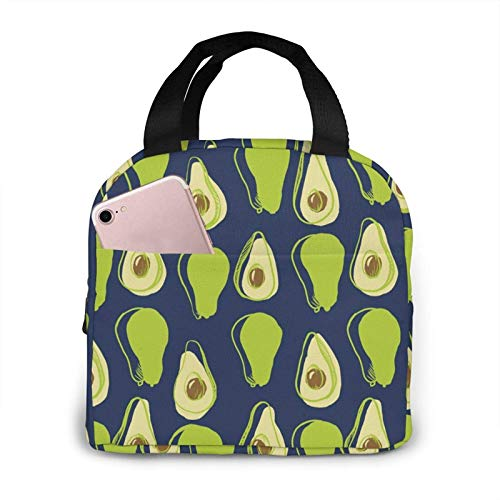 Jingliwang Insulated Lunch Bag,Avocado Pattern Lunch Box,Portable Lunchbox Tote for Women, Men, Kids, Office, Work, School, Picnic, Hiking, Travelling