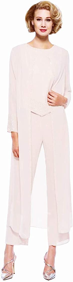 Honeydress Women's Long Sleeves Sequins Mother of The Bride Pant Suit 3 Piece Chiffon Mother's Dress