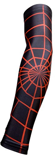 New! Black Red Spider Web - Moisture Wicking Compression Sleeve (Youth Medium)