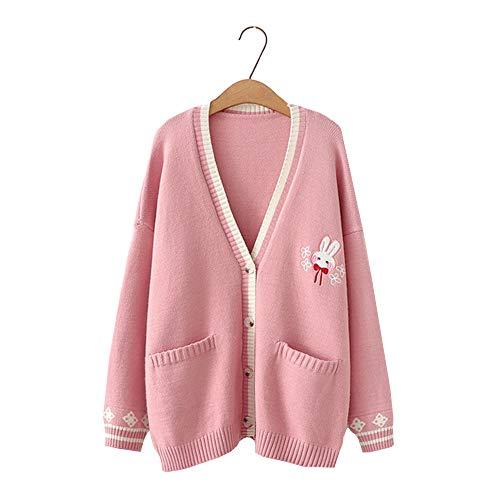 Vdual Kawaii Lolita Mode Mädchen Wenig Blumen Süß Hase Hase Design Warm Bequem Stricker Herbst Strickjacke Mantel