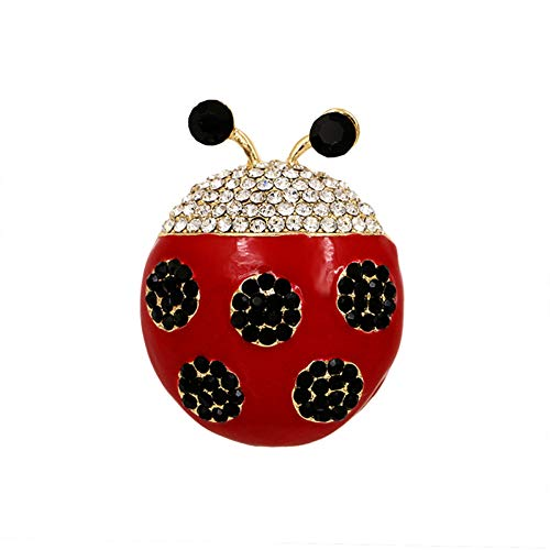 RelaxLife Broche Alfileres De Broche De Mariquita De Cristal Negro Y Esmalte Rojo para Mujer En Color Dorado