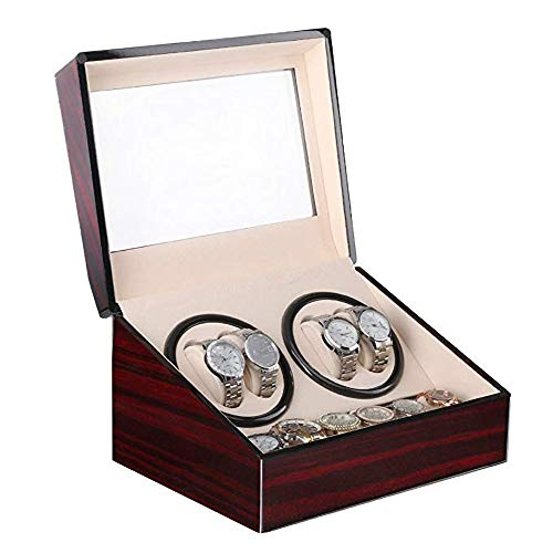 SKINGO SKINGO Watch Winder 4 Armbanduhren + 6 Aufbewahrungskoffer Automatisches UhrengehäUse Mit LedergehäUse Automatikuhr Herren (Keine Uhr)