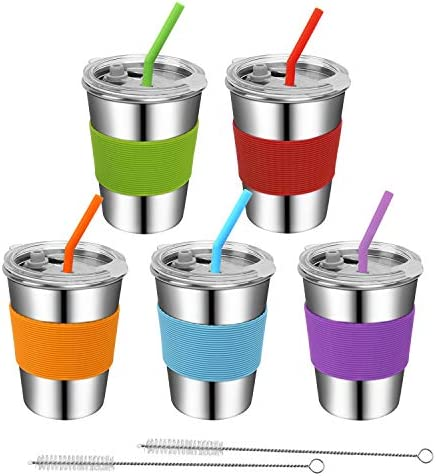 Rommeka Toddler Cups with Straws 18 8 Stainless Steel Children Smoothie Drinking Sippy Cups product image