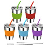 Rommeka Toddler Cups with Straws, 18/8 Stainless Steel Children Smoothie Drinking Sippy Cups, Stacking & Reusable Kids Cups with Straws and Lids, 5 Pack, 12oz