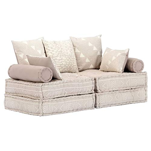 vidaXL Sofa Bed 2 Seater Modular Sofa with Sleep Function Guest Bed Sofa Bed Sofa Bed Upholstered Sofa Lounge Sofa Chaise Longue Beige Fabric