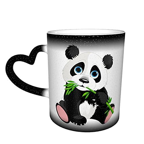 maichengxuan Taza de café unisex de viaje con diseño de panda codicioso personalizado sensible al calor que cambia de color taza de té de leche tazas de café mágicas