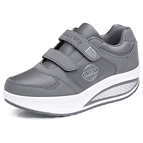 Solshine Damen Plateau Wedge Sneakers Fitnessschuhe Klettverschluss Shape up Walkingschuhe Turnschuhe Grau 37EU