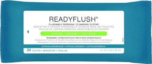 3 Pack Medline ReadyFlush X-Large Premoistened Personal Hygiene Flushable Wipes,8 x 12 in, 3 Refill Packs of 24 Cloths Each