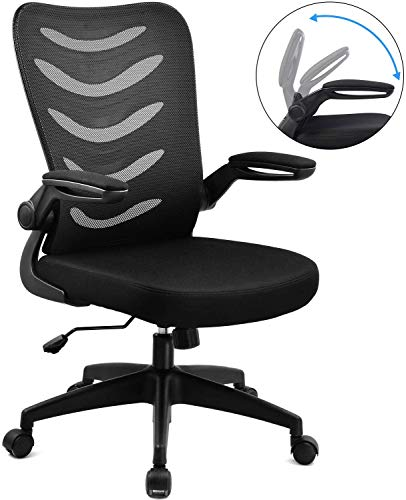 ComHoma Desk Chair Ergonomic Office Chair Mesh Computer Chair with Flip Up Arms Lumbar Support Adjustable Swivel Mid Back for Conference Home Office,...