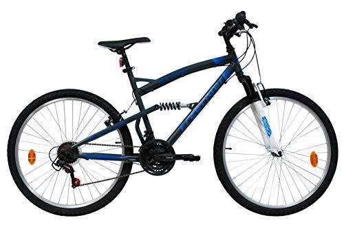 Bicicleta de montaña de 26 pulgadas con suspensión completa – Horquilla telescópica – 18 velocidades – Frenos V-Brake
