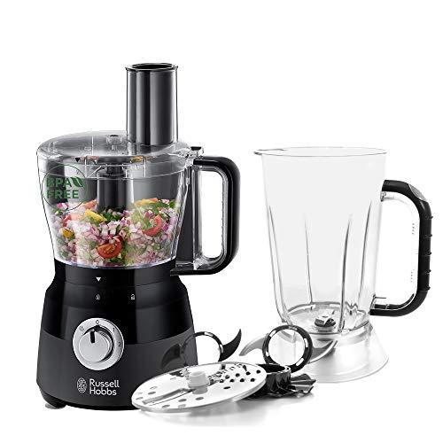 Russell Hobbs Robot Cuisine Multifonction, Hâche, Mixe, Tranche, Râpe, Lames Pétrin, Batteur, Compatible Lave-Vaisselle, 7 Accessoires - Noir 24732-56 Matte Black