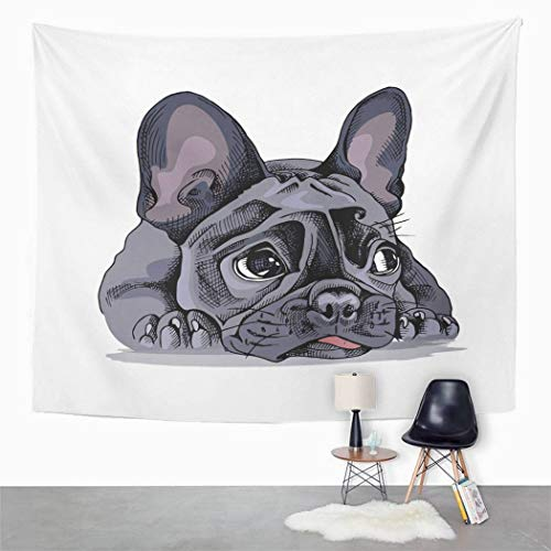 Qamida Modern Tapestry French Bulldog Portrait Tapestry for Bedroom Room Decor Wall Hanging Wall Art Tapestry Picnic Mat Beach Towel Bed Cover 60'x80'