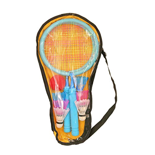 JZK Blaues Badminton-Set für Kinder mit 2 Schlägern, 6 Federbällen, 1 Tennisball, 1 Tragetasche, für 3–7 Jahre alte Kinder Badmintonschläger für Mädchen Kinder im Freien Sport Spiel