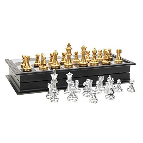 CROSYO 1SET 25x25cm Juego de ajedrez de Viaje magnético Plegable para niños o Adultos Juego de Tablero de ajedrez Dorado Piezas de ajedrez de Plata
