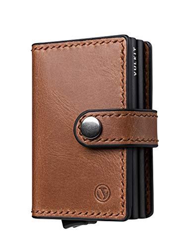 VULKIT Kaarthouder Lederen, RFID-blokkerende Portemonnee Slanke Pop-up metalen kaarthouder voor 10-14 kaarten en bankbiljet, Bruin