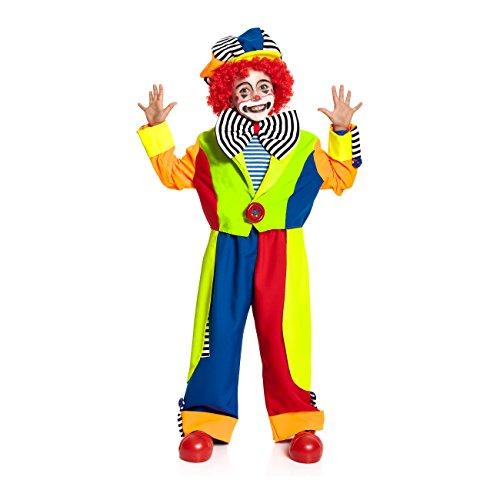 Kostümplanet Clown-Kostüm für Kinder Faschingskostüm mit Mütze und großer Fliege Größe: 116 Verkleidung für Karnevals-Kostüm, Zirkus - Jungen Clowns-Kostüm