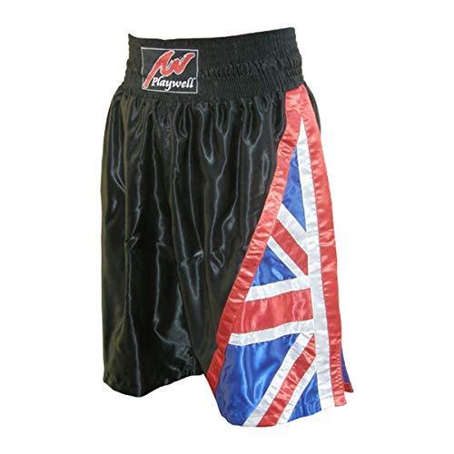 Playwell Boxing Competiton Black Satin Training Shorts - UK Flag Series - XL