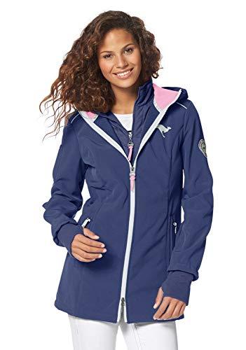 KangaROOS Damen Softshelljacke Softshell Jacke mit Kapuze (Blau, 46)