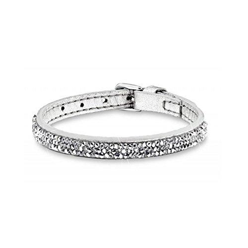 s.Oliver Damen-Armband Let's Celebrate Swarovski Rocks Edelstahl Leder Kristall silber 21 cm - 515931