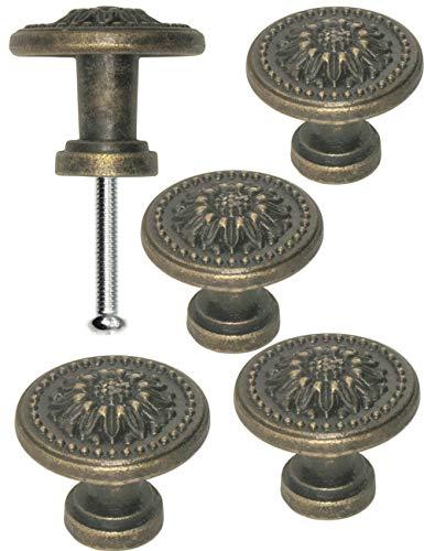 FUXXER®- 4x Antike Möbel-Griffe, Schubladen-Knöpfe, Landhaus Vintage Design Bronze Eisen Messing Möbel Schränke Kommoden Küche Buffet, 325 x 22 mm, Sun, 4er Set