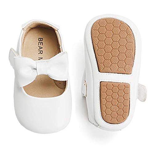 Felix & Flora Infant Toddler Baby Moccasins Soft Sole Bowknot Baby Walking Shoes Mary Jane Dress Shoes (12-18 Months Infant,White)