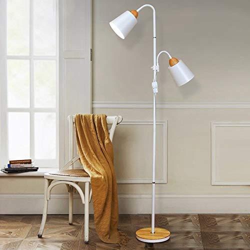 ZCYXQR Lámpara de pie Lámpara de pie de Madera nórdica Simple E27 LED Personalidad de Hierro Forjado Lámparas de pie Ajustables Verticales para Sala de Estar Dormitorio Estudio