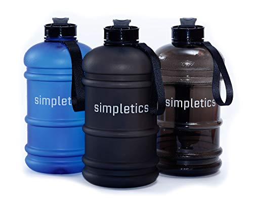 simpletics Trinkflasche 2,2l SPÜLMASCHINENFEST - Die Wasserflasche für Sport, Camping und Bodybuilding - BPA-frei, stabil und auslaufsicher (schwarz matt (Frosted))