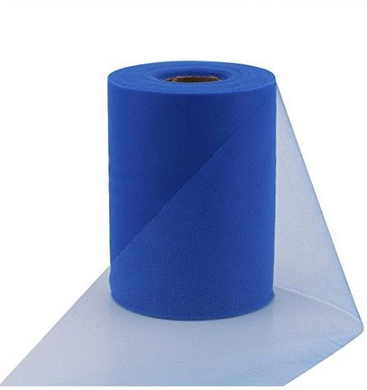 ASIBT 6 Inch x 100 Yards Tulle Roll Spool Fabric Table Runner Chair Sash Bow Tutu Skirt Sewing Crafting Fabric Wedding Party Gift Ribbon (Royal Blue)