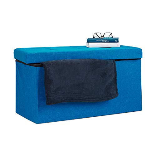 Relaxdays Baúl Almacenamiento Plegable, Lino, Azul, 38 x 76 x 38 cm