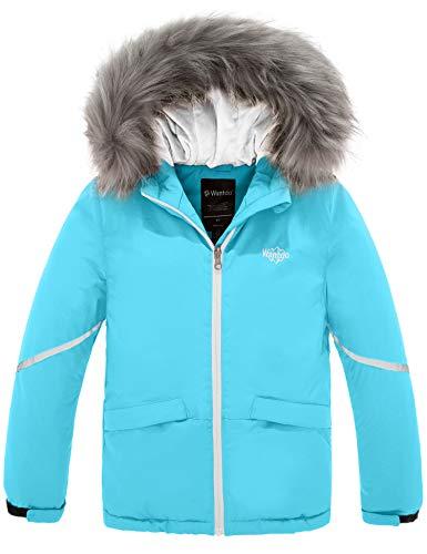 Wantdo Girl's Waterproof Ski Jacket Winter Warm Raincoat with Fur Hood Blue 14/16