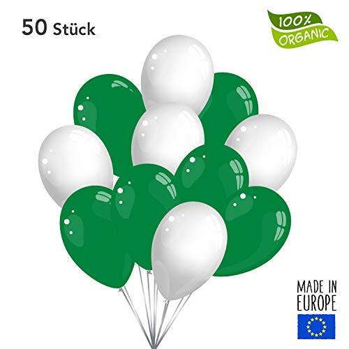 50 Premium Luftballons in Grün/Weiß - Made in EU - 100% Naturlatex somit 100% giftfrei und 100% biologisch abbaubar - Geburtstag Party Hochzeit Silvester Karneval - für Helium geeignet - twist4®